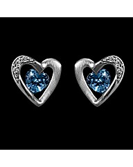 Silver Cubic Zircinia Heart Earrings