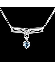 Silver Diamond and Blue Topaz Pendant