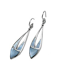 Silver and Blue Mother Of Pearl Earrings