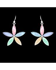 Silver Mother of Pearl Flower Earrings