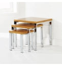 Boston Nest of Tables - Chrome & Beech