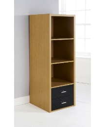 Prague Oak High Gloss 3 Shelf - Black