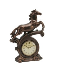 Horse Mantel Clock Bronze effect
