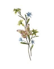Metal Wall Art Lily Spray with Butterfly