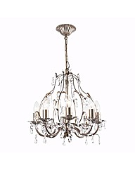Cassa 8 Light Brushed Gold Chandelier