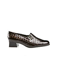 Edith Brown Croc Print Court Shoe