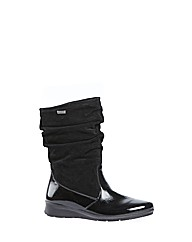 Heath Black Feature Patent Boot