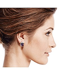 Jon Richard Purple Oval Stone Earring