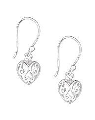 Simply Silver Patterned Heart Earring