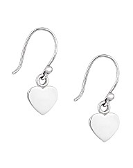 Simply Silver Flat Heart Drop Earring