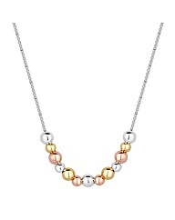 Simply Silver Triple Tone Ball Necklace