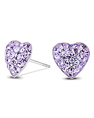 Simply Silver Purple Heart Stud Earring
