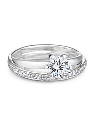 Simply Silver Cubic Zirconia Double Ring