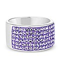 Simply Silver Purple Crystal Chunky Ring