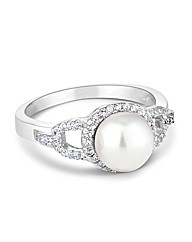 Simply Silver Pearl Surround Ring