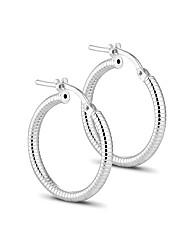 Simply Silver Textured Hoop Earring