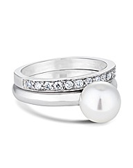 Simply Silver Pearl And Band Ring