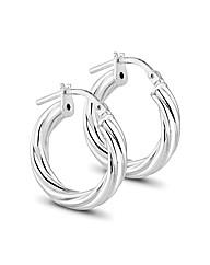 Simply Silver Chunky Twist Hoop Earring