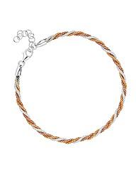 Simply Silver Triple Tone Twist Bracelet