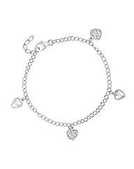 Simply Silver Heart Charm Drop Bracelet