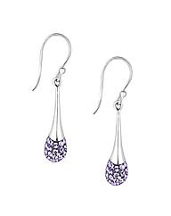 Simply Silver Purple Peardrop Earring
