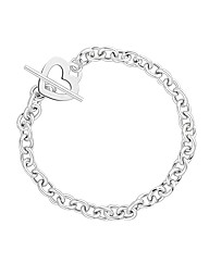 Simply Silver Heart Charm T-Bar Bracelet