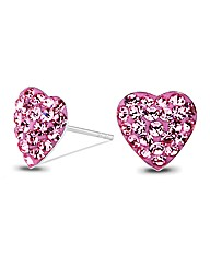 Simply Silver Pink Heart Stud Earring