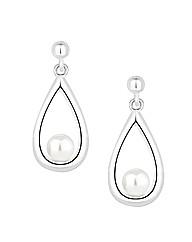 Simply Silver Pearl Teardrop Earring