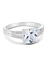 Simply Silver Square Cubic Zirconia Ring