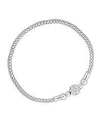 Simply Silver Crystal Ball Mesh Bracelet