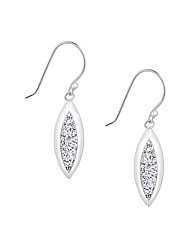 Simply Silver Crystal Leaf Drop Earring