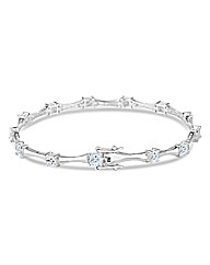 Simply Silver Square Set Link Bracelet