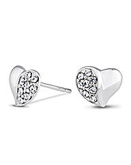 Simply Silver Crystal Heart Stud Earring