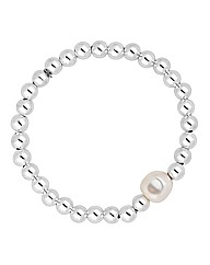 Simply Silver Pearl And Ball Bracelet