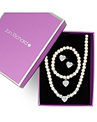 Jon Richard Cream  Pearl Heart Trio Set