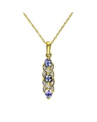 9ct Gold Tanzanite & Diamond Pendant