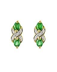 9ct Gold Emerald & Diamond Earrings