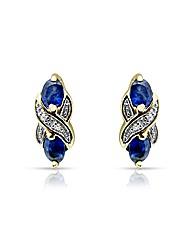 9ct Gold Sapphire & Diamond Earrrings
