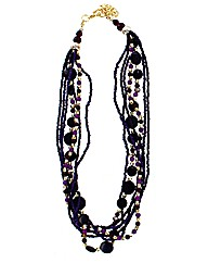 Multi Sead Bead And Glass Bead Necklace