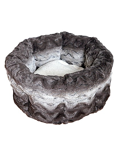Grey & Cream Snuggle Plush Round 15 Inch