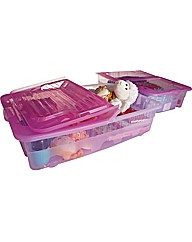 Pair of 40 Litre Pink Underbed Boxes