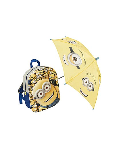 Image of Minions Backpack and Umbrella.