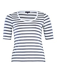 HotSquash Short Sleeved Striped Scoop Te