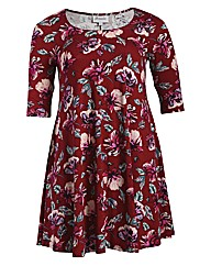 Threads Print 3/4 Sleeve Swing Dress
