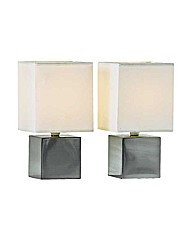Pair of Cube Touch Table Lamps - Cream