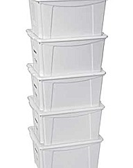 Set of 5 18 Litre Plastic Storage Boxes
