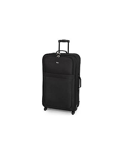 Large 4 Wheel Soft Suitcase  Black