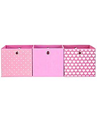 Pink and Hearts Canvas Storage Boxes
