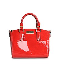 Juno red patent bowler bag