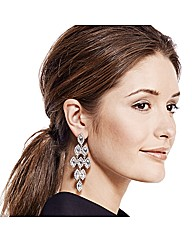Mood Silver Navette Chandelier Earring